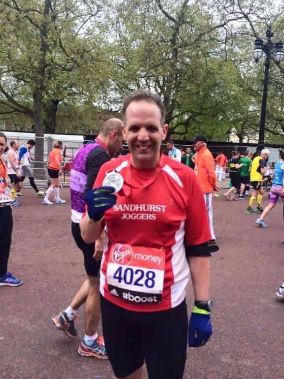 Royston (still standing) at the finish